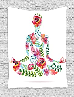 Ambesonne Yoga Decor Collection, Colorful Yoga Pose and Floral Human Leaf Meditating Spring Wellness Vibrant Colors Image , Bedroom Living Room Dorm Wall Hanging Tapestry, Pink Blue Green