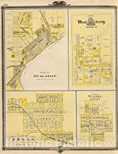 Historic Map - 1875 Plans of Muscatine, West Liberty, Pella and Wilton, State of Iowa. - Vintage Wall Art - 24in x 30in