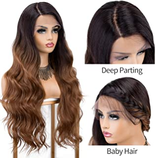 K'ryssma Brown Lace Front Wig Ombre L Part Synthetic Wig with Dark Roots Long Wavy Brown Ombre Wigs for Women Deep Side Parting