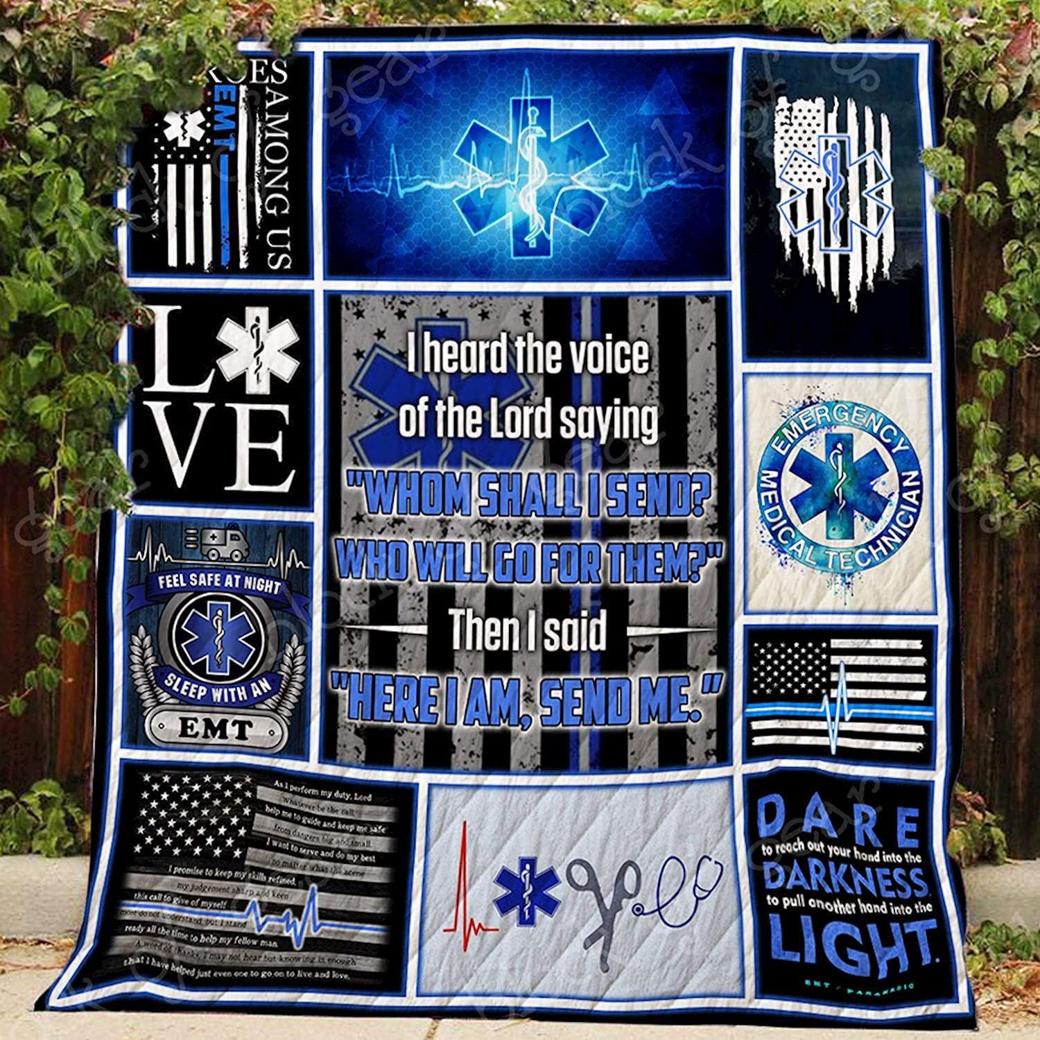 EMT Paramedic Thin White Line Quilt P202, Queen All-Season Quilts Comforters with Reversible Cotton King Queen Twin Size - Best Decorative Quilts-Unique Quilted for Gifts