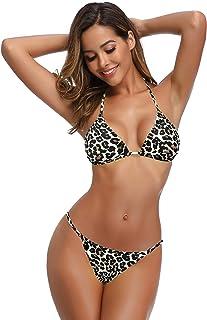 SHEKINI Women's Halter Triangle Bikini Thong Bottom Brazilian Cheeky Two Piece Swimsuits