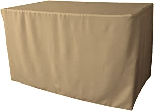 """LA Linen Polyester Poplin Fitted Tablecloth 48"""" L x 24"""" W x 30"""" H, Taupe"""
