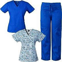 Medgear Womens Scrub Set and Mock-Wrap Print Top Combo Medical Uniform