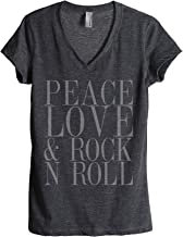 Peace Love and Rock 'N Roll Women's Fashion Relaxed V-Neck T-Shirt Tee