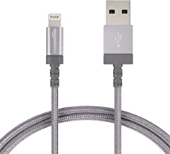 AmazonBasics Nylon Braided Lightning to USB A Cable, MFi Certified iPhone Charger, Dark Grey, 6-Foot - 10-Pack