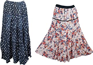 Mogul Interior 2pc Women's Maxi Skirt Floral Printed Draw String Flare Boho Long Skirts L Blue,Pink