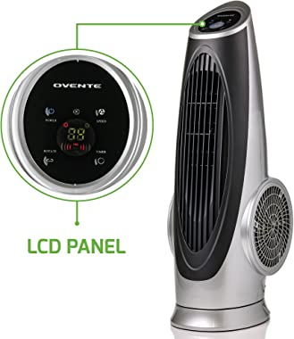 OVENTE TF88S Cool Air Breeze Tower Energy Saving Oscillating Fan with 90 Degree Rotation Low Noise Technology 3 Speed Soft Touch Power Button and Rotary, M, Silver