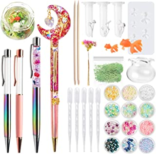 Resin Herbarium Floral Ballpoint Pens Shaker, Miniature Koi Fish Mold, Goldfish Bowl, Reindeer Moss, Pearl, Dried Flowers, Mushroom Botanical Terrarium Craft Set 32 Kits