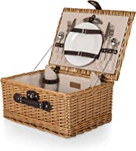 Classic Wicker Picnic Basket with Service for Two, Red/White Check