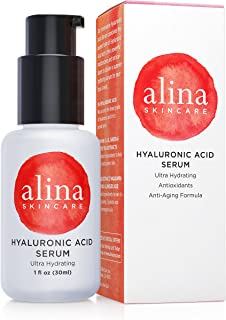 Alina Skin Care Pure & Pristine Hyaluronic Acid Serum with Multiple Moisturizers for Maximum Hydration and Clinically Studied Soothing/Calming Actives, 1.0 Ounce