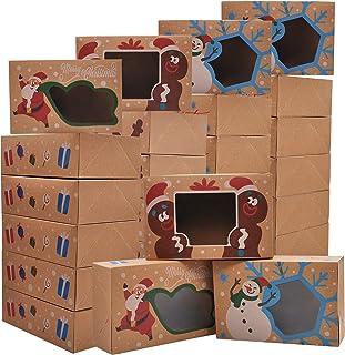 Lot de 24 boîtes à biscuits de Noël avec fenêtre pour gâteaux, cupcakes, cookies, brownies, beignets, cadeaux.