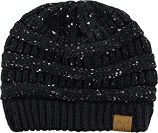 C.C Women's Sparkly Sequins Warm Soft Stretch Cable Knit Beanie Hat
