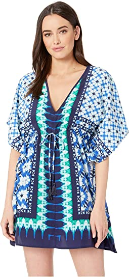 Tide Seashell Engineered Drawstring Tunic Cover-Up