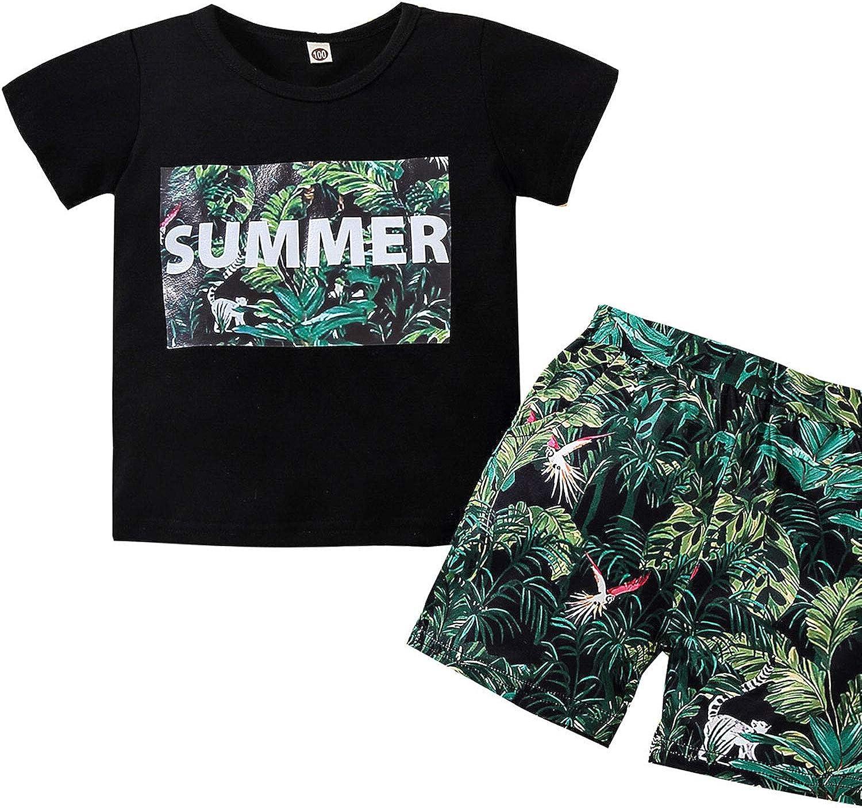 Toddler Boy Summer Fashion 2PC Print Outfit Hawaiian Beach Round Neck Short-Sleeved Elastic Sets Green