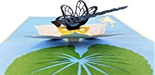 iGifts And Cards Blue Dragonfly 3D Pop Up Greeting Card - Insect, Lily Pad, Pond, Floral, Half-Fold, Happy Birthday, Just Because, Get Well, Celebration, Friendship, Thank You, Bon Voyage, New Home