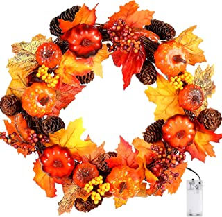 VIGEIYA LED Artificial Fall Wreath for Front Door Outdoor Thanksgiving Halloween Harvest Decoration