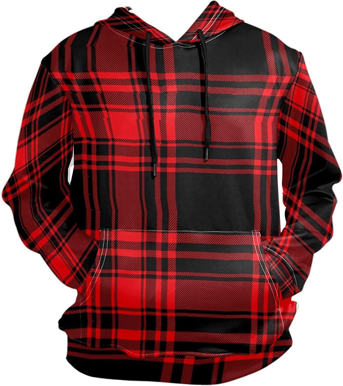 Men's Sport Hoodie Black And Red Plaid Lattice Big and Tall Hoodies for Men Women Oversized Hooded Sweatshirt Hip Hop Pullover Hoodie Midweight Hood for Boys Girls