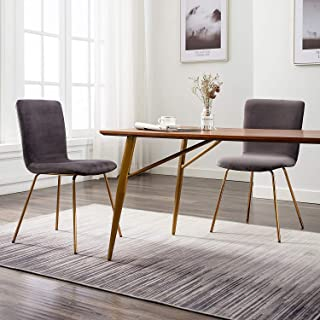 Art-Leon Mid-Century Modern Simple Retro Velvet Fabric Leisure Upholstered Dining Chairs Set of 2 with Golden Metal Legs Accent Side Chairs for Kitchen Living Room Bedroom Office (Grey)