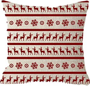 NIDITW Nice Gift Merry Christmas Boho Bohemian Baby Its Cold Outside Snowflakes Deer Reindeer Snowflakes Red Cotton Burlap Linen Throw Pillow case Cushion Cover Sofa Decorative Square 18x18 inches