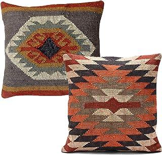 Handicraft Bazarr Juego de 2 fundas de cojín de yute vintage Kilim yute, 45,7 x 45,7 cm