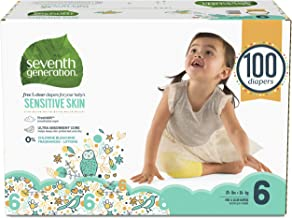 Seventh Generation Baby Diapers for Sensitive Skin, Animal Prints, Size 6, 100 Count..