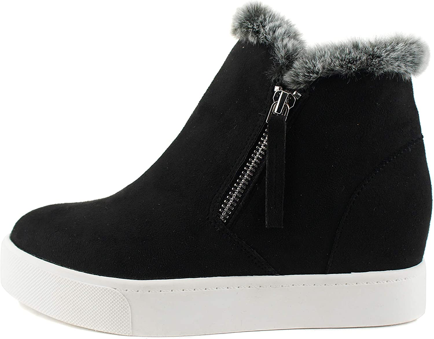 Soda Style Outing – Hidden Wedge Fashion Sneaker Bootie with Fur Collar and Side Zipper