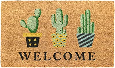 """Rugsmith Multi Welcome Topiary Machine Tufted Doormat, 18"""" x 30"""", Natural"""
