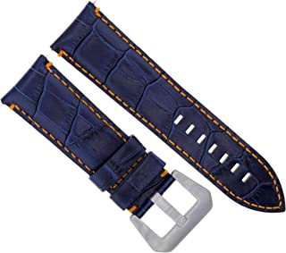 22MM LEATHER WATCH BAND STRAP FOR BREITLING NAVITIMER SUPEROCEAN BLUE ORANGE