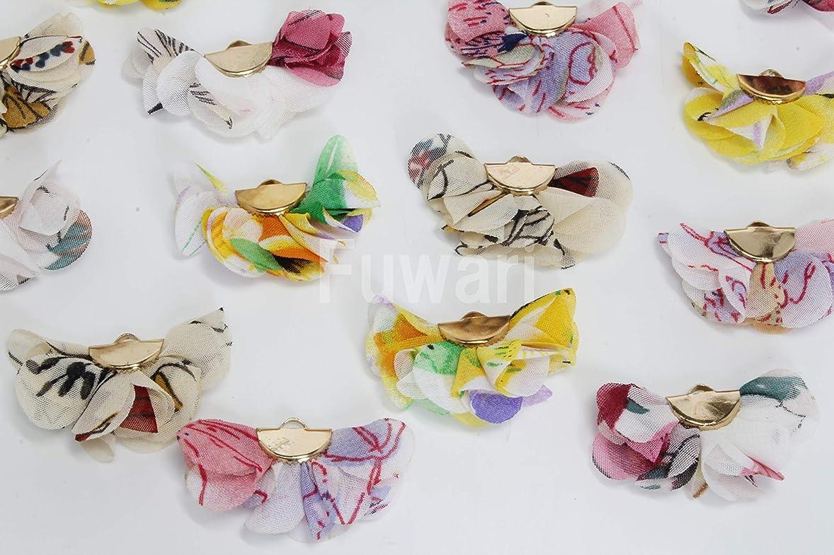 勃起紳士気取りの、きざな何十人も【Fuwari】 シフォン フラワー 花柄 タッセル 丸カン付き チャーム 4色X各4個 全16個セット アクセサリーパーツ イヤリング ピアス 材料