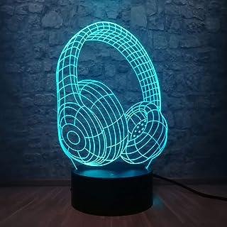 Nouveauté Design Casque Casque 3D Led Usb Coloré Lampe Acrylique Économie D'Énergie Hip Hop Style Enfant Accessoires Décor...