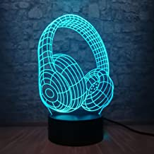 3D Night lamp Novelty Design Headphone Headphone 3D LED USB Colorful Acrylic Lamp Energy Saving Hip Hop Style Child Props ...
