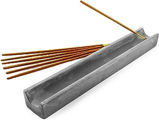 Slice of Goodness Grey Cement Incense Holder Rectangle - Modern Minimal Design with Tilted Burner and U Shape Interior - I...