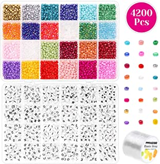 Pony Beads for Bracelets, Paxcoo 3000 Pcs 4mm Small Rainbow Pony Seed Beads with 1200 Pcs Letter Beads for Friendship Bracelets and Jewelry Making