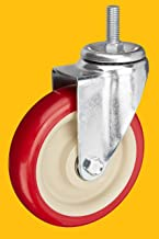 AmazonCommercial 5-Inch Stem Swivel PVC Caster, Red, 4-Pack