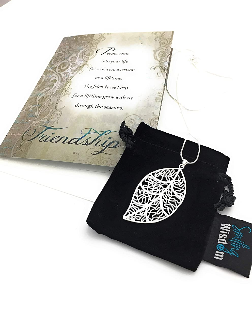 Smiling Wisdom - Silver Leaf Necklace Reason Season Lifetime BFF Gift Set - Friendship Card - Leaf Pendant Sentiment - For Special Good True Best Woman Friend - .925 Silver Plated - BFF