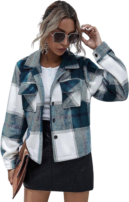 Department store Lentta Womens Crop Plaid Shacket Down Lapel Genuine Short Casual Button