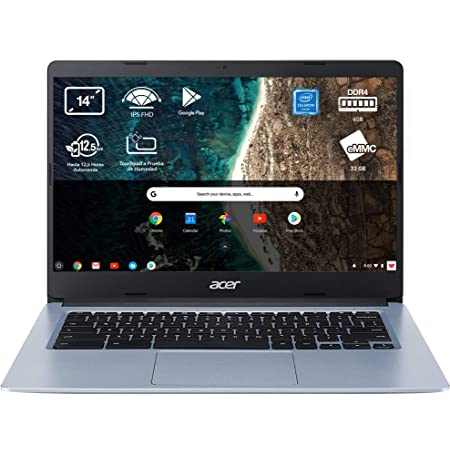 "Acer Chromebook 314 - Portátil 14"" FullHD (Intel Celeron N4020, 4GB RAM, 64GB eMMc, Intel UHD Graphics, Chrome OS), Color Plata - Teclado QWERTY Español"