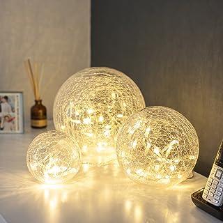 Lights4fun Conjunto de 3 orbes de Cristal craquelado con Luces LED a bateríás…