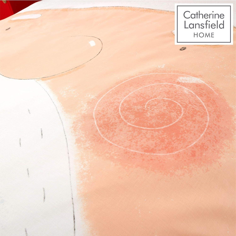 Set copripiumino singolo facile da pulire motivo: Babbo Natale Catherine Lansfield colore: Rosso