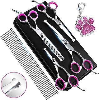Dog Grooming Scissors, Grooming Scissors for Dogs with Safety Round Tip, Dog Scissors for Grooming - Thinning, Straight, C...