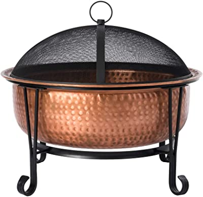 Fire Sense Palermo Copper Fire Pit with Steel Stand   Wood Burning   Mesh Spark Screen, Steel Grate, Screen Lift Tool, and Vinyl Weather Cover Included   Lightweight Portable Patio and Outdoor Heater
