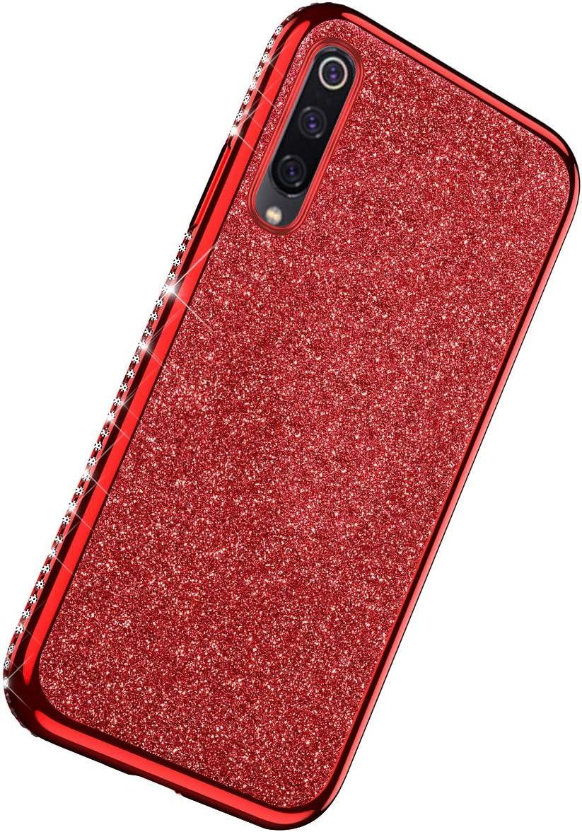Herbests Custodia compatibile con Xiaomi Mi 9 Cover Case Brillantini Bling Paillettes Custodia Diamante a Strass TPU Silicone Bumper Case Slim Protettiva Antiurto Cover,Oro Rosa