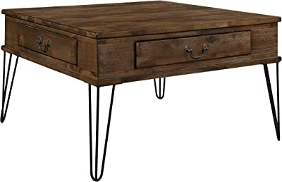 "Lexicon Oquin 32"" x 32"" Coffee Table, Rustic Oak/Black"