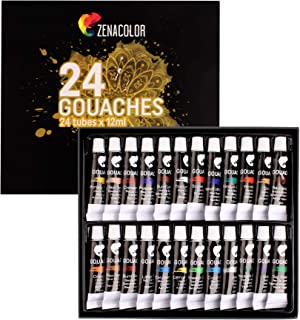 comprar comparacion Zenacolor - 24 Pintura Gouache en Tubo 12ml - Para Pintar en Todos los Soportes tanto para Artistas y Principiantes