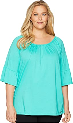 Plus Size Gathered Sleeve Peasant Top