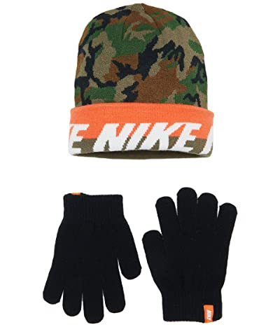 Nike Kids Beanie and Gloves Two-Piece Set (Big Kids) (Amry Camo) Snowboard Gloves