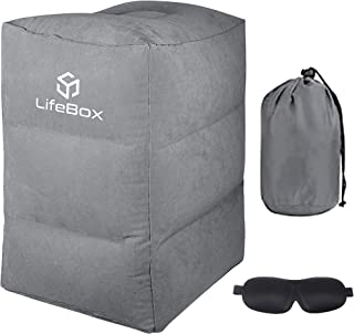 Inflatable Foot Rest Travel Pillow w/ Blackout Sleeping Mask | Soft Support Cushion for Kids, Adults | Office, Airplane, Travel, and Car Sleep Rest | Portable, Larger Inflate and Deflate Valve