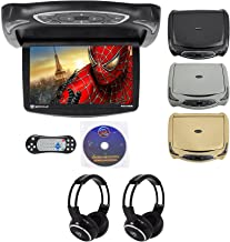"Rockville RVD14BGB Black/Grey/Tan 14"" Flip Down Car DVD Monitor+Games+Headphones"