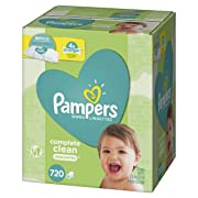 Baby Wipes, Pampers Sensitive Water Baby Diaper Wipes, Complete Clean Unscented, 10 Refill Packs for Dispenser Tub, 720 Total Wipes
