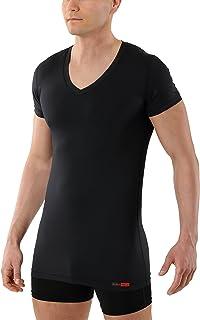 Camiseta Interior Negra para Hombre de Tejido técnico algodón-Coolmax® – antisudor, Piel Seca – de Manga Corta y Cuello de Pico
